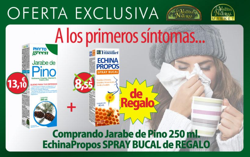 Oferta de Marzo: Por la compra de Jarabe de Pino 250ml Phytogreen a 13,10€, te regalamos Echina Propos spray bucal de 40ml, valorado en 8,55€