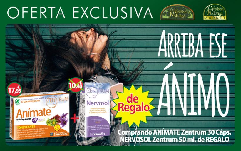 Oferta de Marzo: Compra Anímate 30 capsulas de Zentrum por 17,95€ y llévate de regalo Nervosol 50ml Zentrum de regalo, valorado en 10,40€