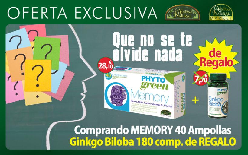 Oferta de Marzo: Comprando Memory 40 ampollas de Phytogreen por 28,10€, te regalamos Ginkgo Biloba 180 comprimidos de Phytogreen valorado en 7,70€