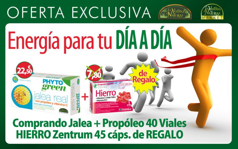 Oferta de Marzo: Comprando Jalea más propóleo 40 viales por 22,50€, te regalamos Hierro 45 cápsulas valorado en 7,80€