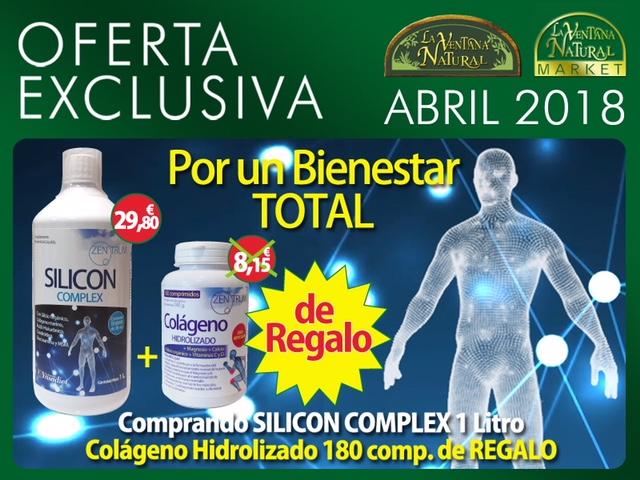 Oferta de Abril: Por la compra de Zentrum Silicom complex 1L 29,80€, te regalamos un Zentrum Colágeno Hidrolizado 180 comprimidos 8,15€