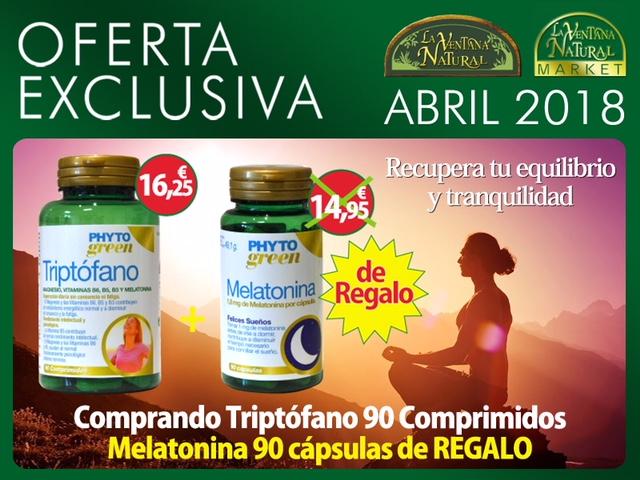 Oferta de Abril: Por la compra de Triptófano 90 comprimidos Phytogreen 16,25€,  te regalamos una Melatonina 90 cápsulas 14,95€
