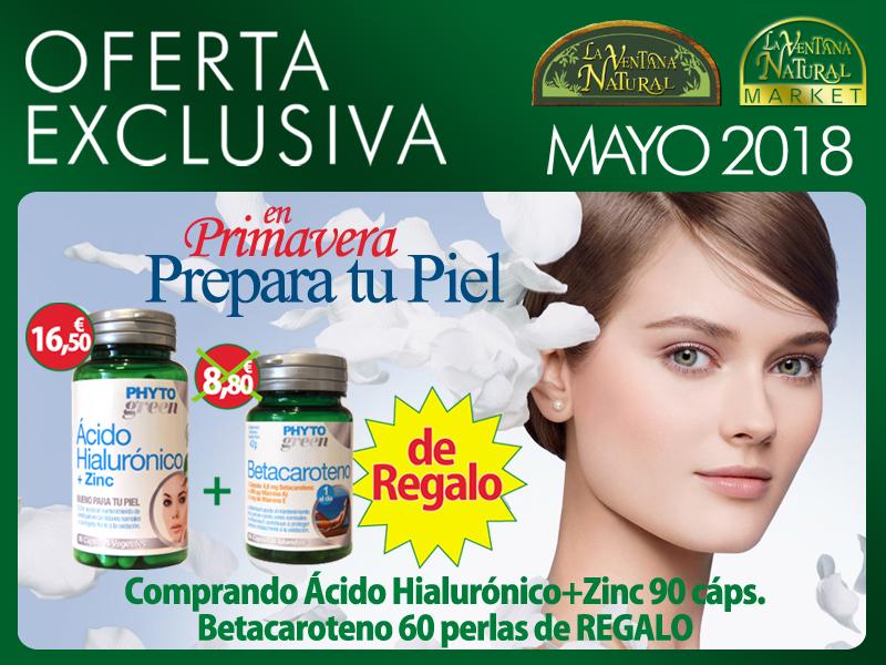 Oferta de Mayo: Por la compra de Ácido Hialurónico + Zinc 90 cápsulas Phytogreen 16,50€, te regalamos un bote de Betacaroteno 60 cápsulas Phytogreen  8,80€