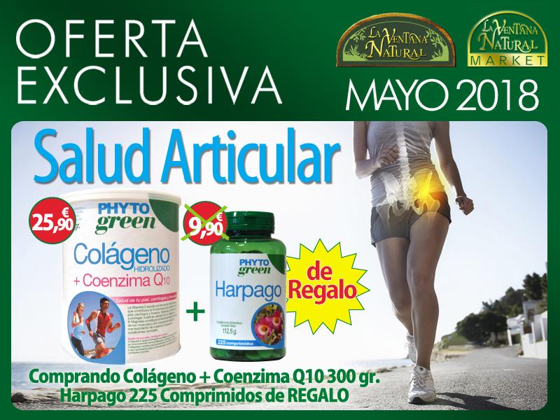 Oferta de Mayo: Por la compra un bote  de Colágeno con Coenzima Q10 300 g Phytogreen 25,90€,  te regalamos  Harpagofito 225 comprimidos Phytogreen 9,90€