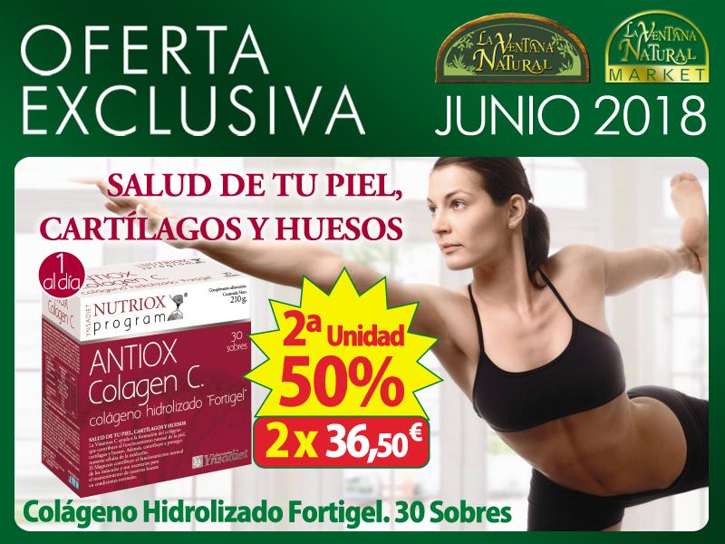 Oferta de Junio: Por la compra de un ANTIOX COLAGEN C 30 sobres 24,35€, la SEGUNDA UNIDAD  AL 50% (12,17€)