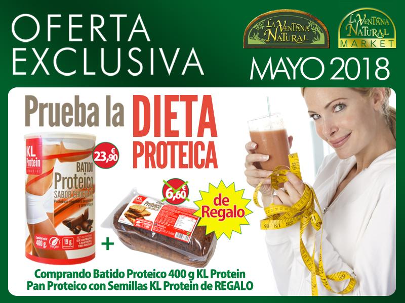 Oferta de Mayo: Por la compra de Batido Proteico 400 g KL  23,90€, te regalamos un Pan proteico con semillas KL Protein 6,60€.