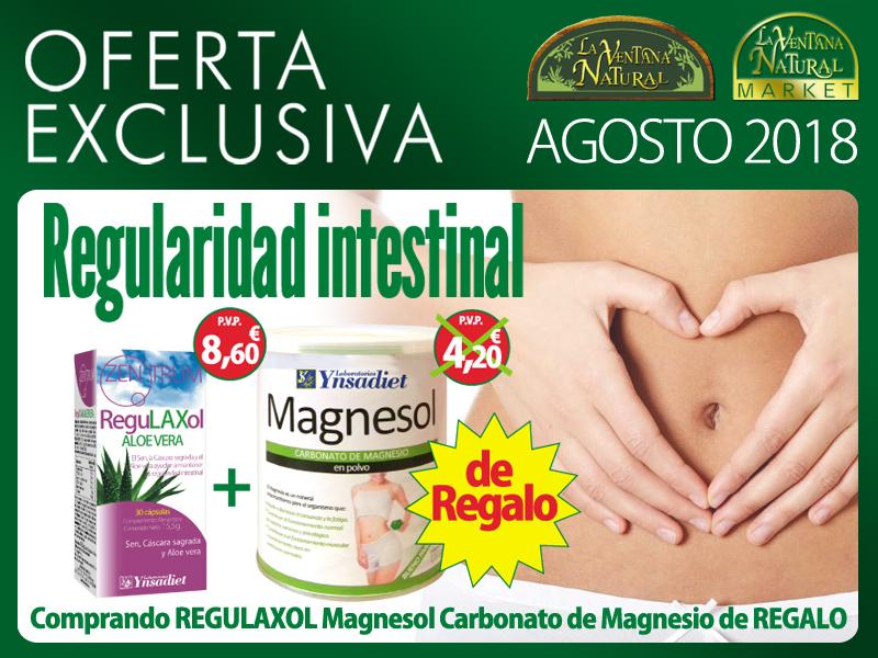 Oferta de Agosto: Por la compra de un Zentrum Regulaxol 30 cápsulas, un Magnesol Carbonato de Magnesio 110 gr. de regalo