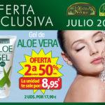 Oferta de Julio: Por la compra de un Gel Aloe Vera 200 ml. Ynsadiet, la segunda unidad al 50%. La unidad te sale a 8,95€