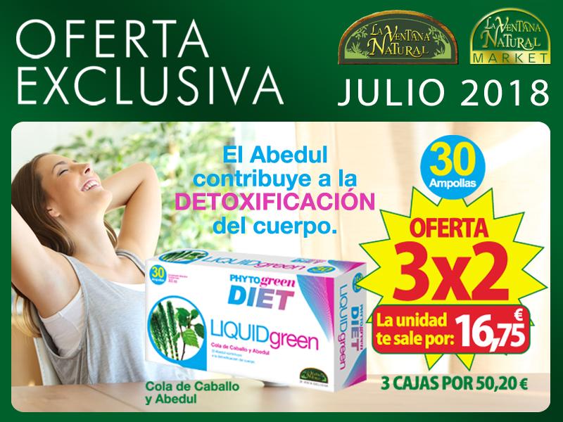Oferta de Julio: Por la compra de dos LiquidGreen 30 Ampollas Phytogreen, la tercera unidad te la regalamos. La unidad te sale a 16,75€