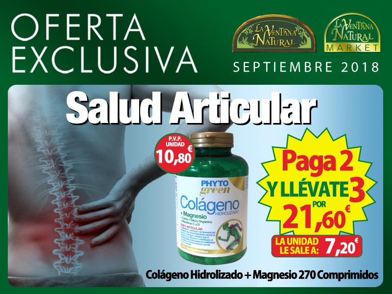 Oferta de Septiembre: Por la compra de 2 Colágenos hidrolizados con magnesio 270 comprimidos Phytogreen, el tercero de regalo. El precio de la unidad es 7.20 €.