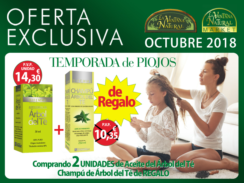 Oferta de Octubre: Por la compra de dos Aceites Árbol de Te Bifemme 30 ml, un champú Árbol de Té de regalo. ¡Manten lejos a los piojos