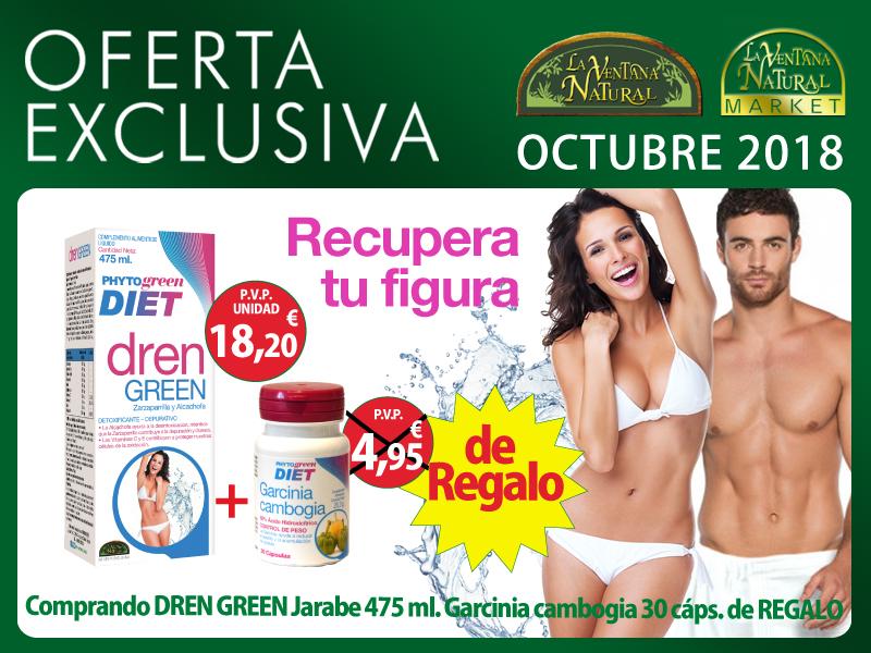 Oferta de Octubre: Por la compra de un Drenagreen 475 ml, una Garcinia cambogia 30 cápsulas Phytogreen de regalo. ¡Un ayuda para tu dieta!