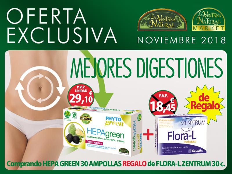 Oferta de Noviembre: Por la compra de un Hepagreen 30 ampollas Phytogreen,  un Flora L 30 cápsulas Zentrum de regalo. Empieza Noviembre con un hígado sano!