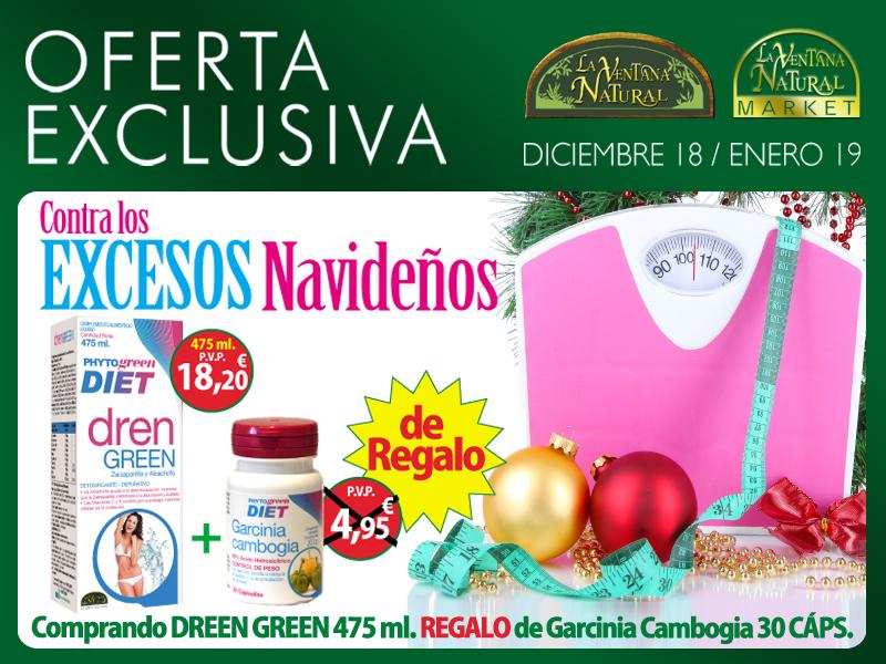 Oferta de Diciembre: Por la compra de un Drenagreen 475 ml una Garcinia cambogia 30 cápsulas de regalo. Si te cuidas por dentro tu figura lo notará por fuera!
