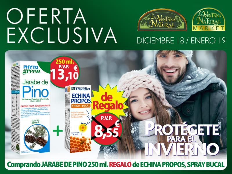 Oferta de Diciembre: Por la compra de un Jarabe de Pino 250 ml Phytogreen  un Echina Propos Spray de regalo. Fortalece tus defensas para el invierno!