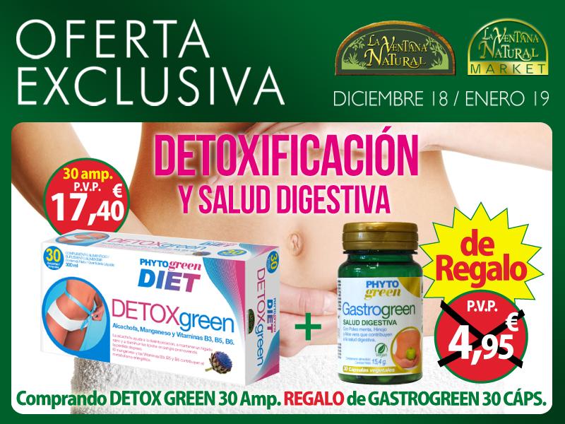 Oferta de Diciembre:  Por la compra de un Detoxgreen 30 ampollas un Gastrogreen 30 cápsulas de regalo. Libérate ya de toxinas y sensación de hinchazón!